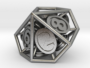 10-Sided Vector Die (10s%) in Natural Silver