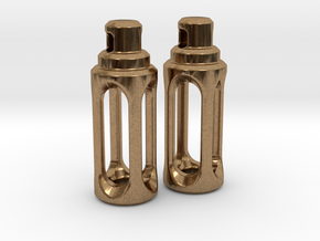 Tritium Earrings 4 (3x15mm Vials) in Natural Brass