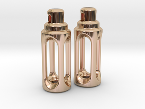 Tritium Earrings 4 (3x15mm Vials) in 14k Rose Gold Plated Brass