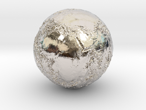 Earth Seabed in Rhodium Plated Brass