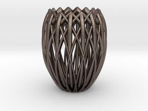 Basket Candlestick 4.5cm in Polished Bronzed Silver Steel