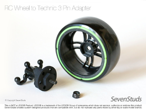 RC Wheel to Technic 3 Pin Adapter - Heavy Duty in Black Natural Versatile Plastic