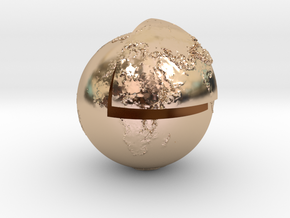 Planet earth sectioned quarter in 14k Rose Gold Plated Brass