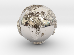 Planet Earth with relief continents highlighting in Rhodium Plated Brass