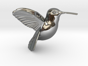 Hummingbird Pendant in Fine Detail Polished Silver