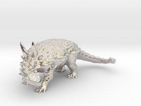 Ankylosaurus museum 3D scan data collectable in Rhodium Plated Brass