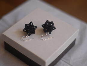 Ball captured in Stellated Dodecahedron Earrings in White Natural Versatile Plastic