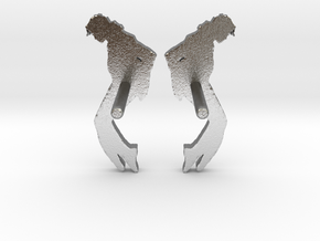 MJ Studs (Pair) Shapeways in Natural Silver