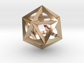 0300 Icosohedron (E&full color, 5 cm)  in 14k Rose Gold Plated Brass