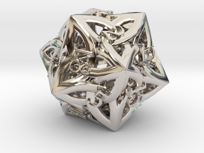 Large Celtic D20 in Rhodium Plated Brass