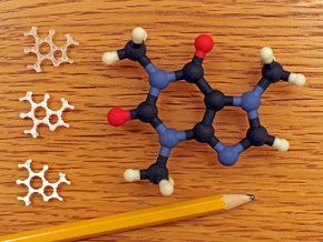 Caffeine molecule model in Full Color Sandstone