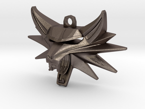 Witcher Pendant Keychain in Polished Bronzed Silver Steel