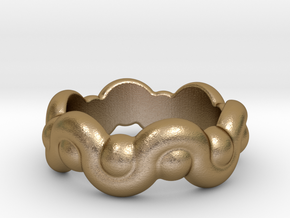 Strange Fantasy Ring 16 - Italian Size 16 in Polished Gold Steel