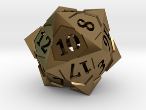 'Starry' D20 Balanced Gaming Die in Polished Bronze