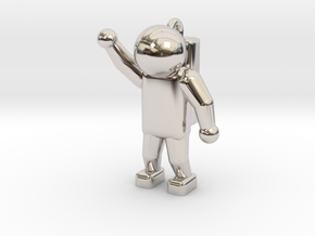 Astronaut Keyring in Rhodium Plated Brass
