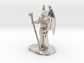 Winged Dragonborn Druid in Robes with Staff in Rhodium Plated Brass