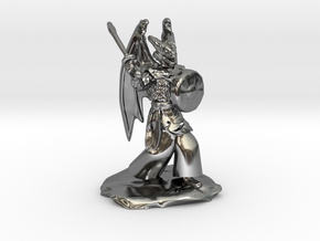Winged Dragonborn Druid with Scimitar and Shield in Fine Detail Polished Silver