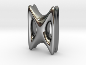 RUNE - D in Fine Detail Polished Silver