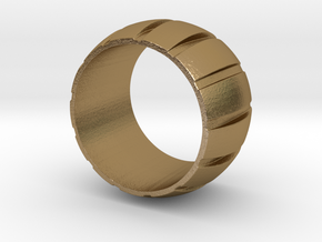 Smoothed Gear Ring - Size 6 in Polished Gold Steel