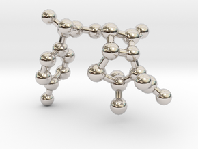 amoxicillin_ball_stick_nonH in Rhodium Plated Brass
