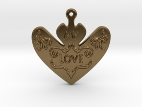 My Love My Life Necklace in Polished Bronze