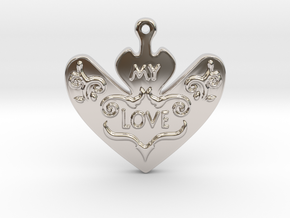 My Love My Life Necklace in Rhodium Plated Brass