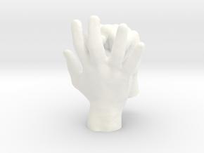 Ring Holder | Hand & Fist in White Processed Versatile Plastic