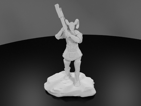 Tiefling Paladin Mini in Plate with Great Axe in White Processed Versatile Plastic