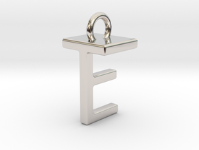 Two way letter pendant - ET TE in Rhodium Plated Brass