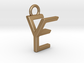 Two way letter pendant - EY YE in Matte Gold Steel
