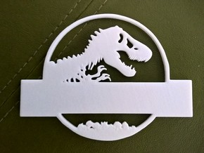 Jurassic World Nametag Top-Plate in White Strong & Flexible Polished