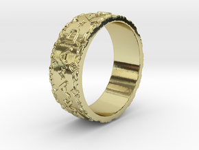 Per aspera ad astra Ring Size 11.5 in 18k Gold Plated Brass