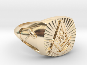PAST MASTER RING w/ sides in 14K Yellow Gold