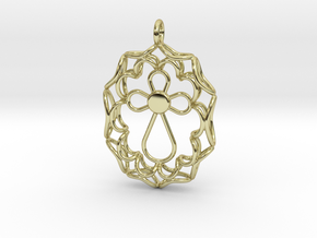 Pendant With Cross in 18k Gold Plated Brass