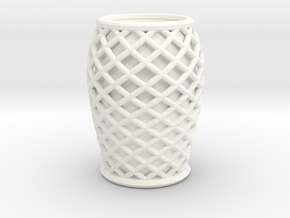 "Rounded Vase (3.5"" Height) in White Processed Versatile Plastic"
