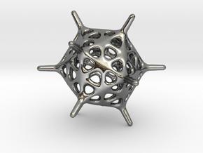Adenovirus Pendant in Fine Detail Polished Silver