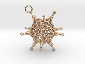 Adenovirus pendant or earring with loop in 14k Rose Gold Plated Brass