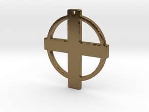 Cross in Circle in Polished Bronze