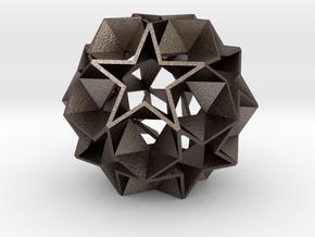 12 Star Ball [Acrylic & Steel] - 5.6 cm in Polished Bronzed Silver Steel