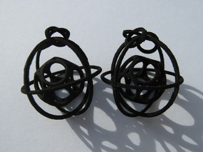 Caged Moebius Earrings 1 in Red Processed Versatile Plastic