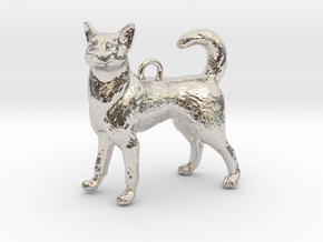 Standing Husky Necklace in Platinum