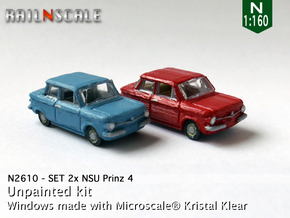 SET 2x NSU Prinz 4 (N 1:160) in Smooth Fine Detail Plastic