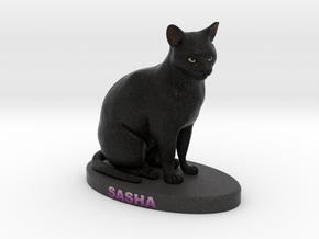 Custom Cat Figurine - Sasha in Full Color Sandstone