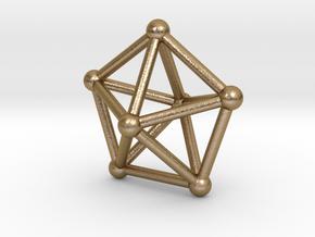 0308 Pentagonal Bipyramid J13 V&E (a=1cm) #002 in Polished Gold Steel