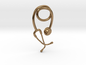 Stethoscope pendant in Natural Brass
