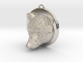 Bear Face Necklace in Platinum