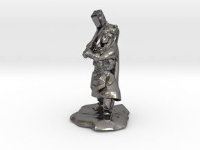 Dwarf Shaman with Bear Cloak and Warhammer in Polished Nickel Steel