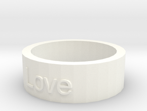 """Love"" Ring in White Processed Versatile Plastic"