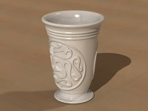 Celtic cup with swastika ornament in White Processed Versatile Plastic