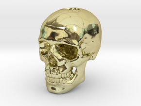 14mm .55in Keychain Bead Human Skull in 18k Gold Plated Brass